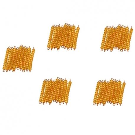 45 barres de 10 perles dorées montées