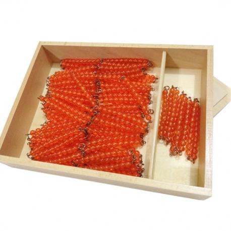 chaine de 100 et de 1000 perles dorées montées dans leur boite de rangement