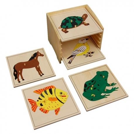 Cabinet de 5 puzzles de zoologie