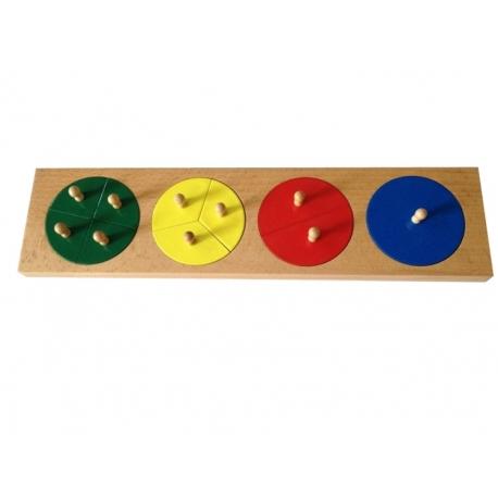 Cercles des fractions de 1 à 4