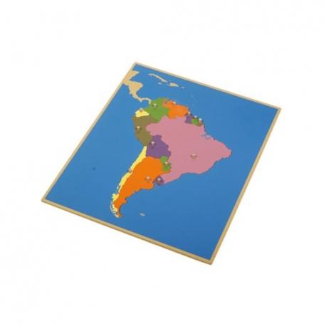 Puzzle carte Amérique du Sud en bois