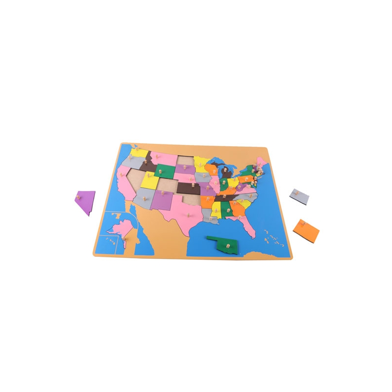 puzzle carte USA en bois
