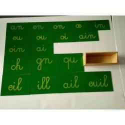lettres rugueuses lettres d'imprimerie avec boite