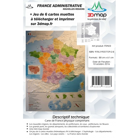 Carte 3D de la France administrative