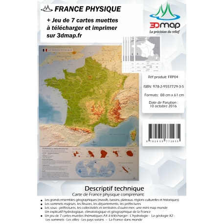 Carte 3D  de la France physique.
