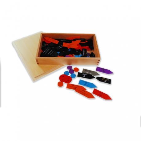 Flèches des fonctions en bois avec boîte.