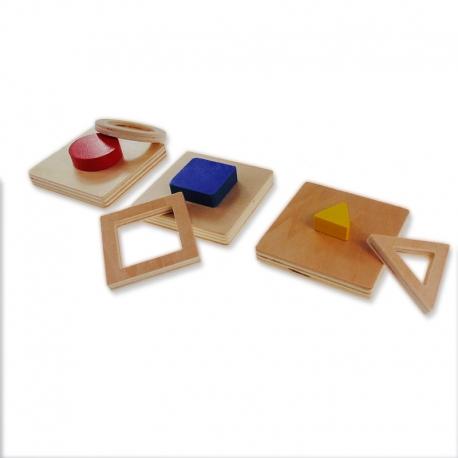 Puzzle de 3 formes géométriques doubles.