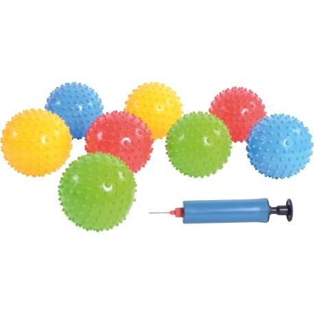 Set de 25 balles à picots avec pompe.