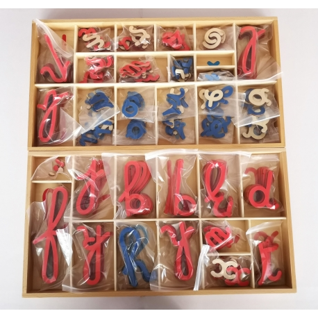 Alphabet mobile en bois, cursives
