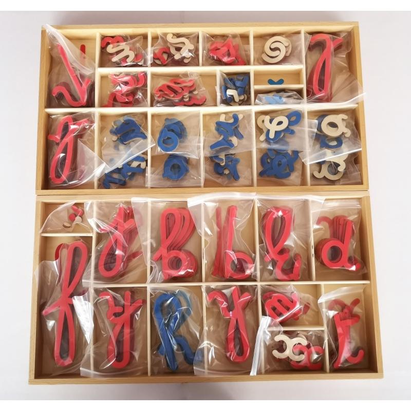 grand alphabet mobile en bois, cursives