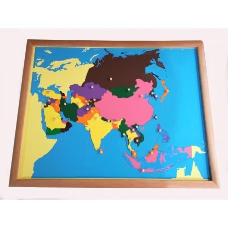 Puzzle carte de l'asie avec cadre.