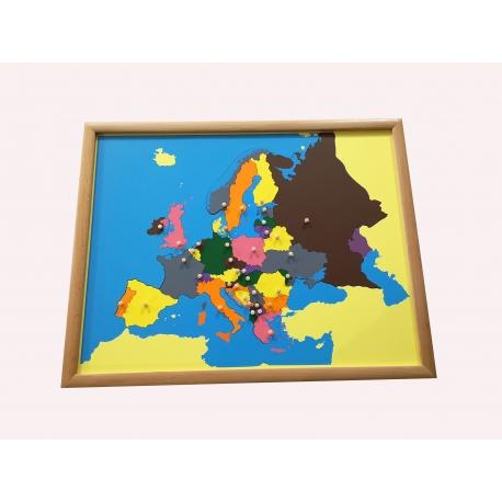 Puzzle carte de l'Europe avec cadre.