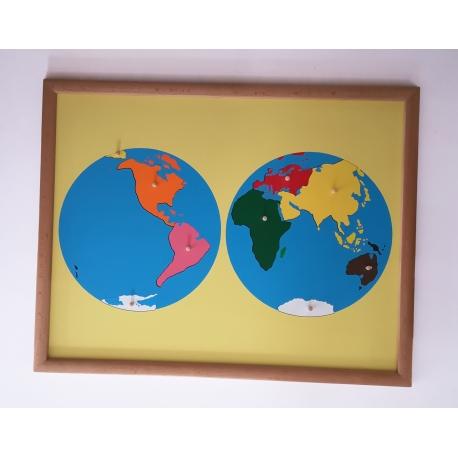 Puzzle carte du monde avec cadre.