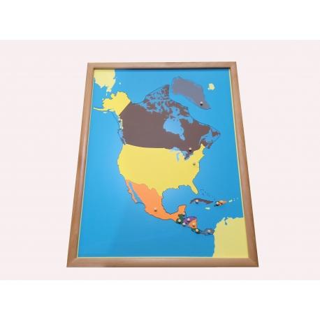 Puzzle carte Amérique du nord avec cadre