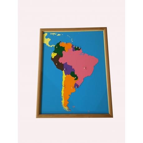 Puzzle carte amérique du sud avec cadre.