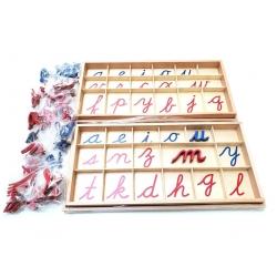Alphabet mobile en bois, cursives