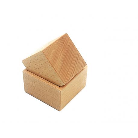 Cube avec support en hêtre.