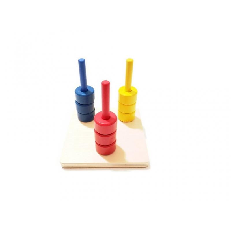 disques colorés sur 3 tiges