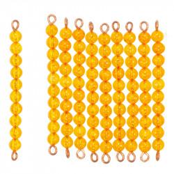10 barres de 10 perles dorées montées