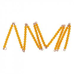 Chaîne de 100 perles dorées montées
