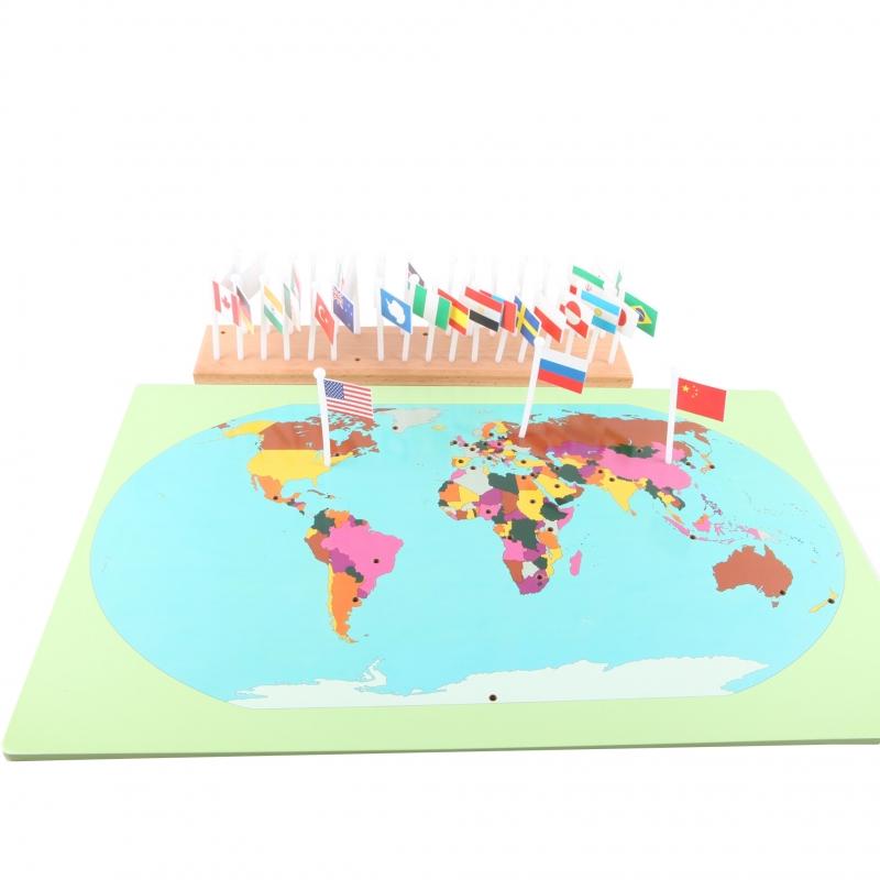 carte mondiale avec drapeaux à placer